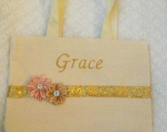 Flower Girl Gift, Flower Girl Purse, Flower Girl Tote, Blush and Gold