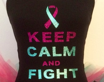 Keep Calm and Fight On Cancer Tank Top, Fight On Tank Top, Cervical Cancer Top, Breast Cancer Tank Top
