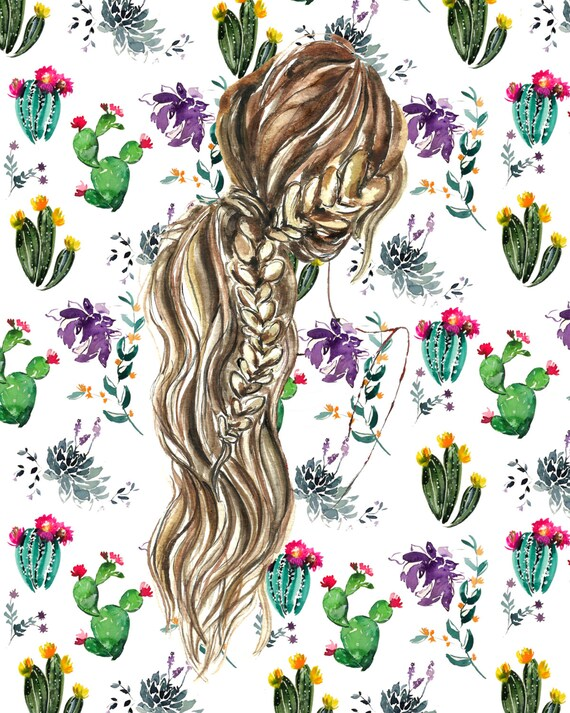 8x10 hair art braid ponytail print blonde brown cactus. Black Bedroom Furniture Sets. Home Design Ideas