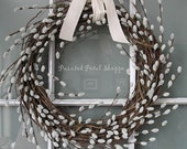 THE ORIGINAL Faux Pussy Willow Spiral Wreath/ Rustic Spring Wreath/ Spring Wedding Decor/ Nursery Decor