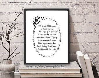 I Love You, Love Sign, Love Art Print, Love Decor, Love Gift Idea, For Him, For Her, Valentine's Day, Christmas Gift, Love Printable