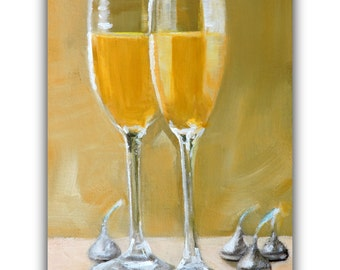 """Wedding Engagement Painting """"Champagne  and Kisses"""" Original Oil Painting Love, Anniversary, A Simple Celebration by Tina Petersen"""