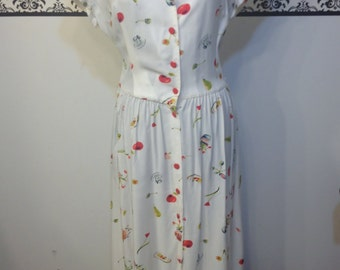 Deadstock 1980's Cherry Print Pin Up Day Dress by Sharon Anthony, Size 14, Vintage Rockabilly Cherry Print Dress, 80's Does 50s Cherry Dress