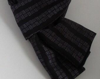 Long, Black, Pure Silk & Wool, Striped, Scarf