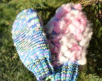 Rainbow / Unicorn swirl - Thrummed mitten knitting pattern