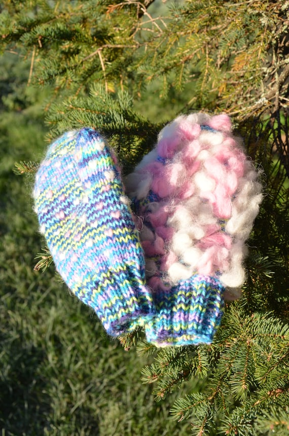 Rainbow Unicorn Knitting Pattern : Rainbow unicorn swirl thrummed mitten knitting pattern