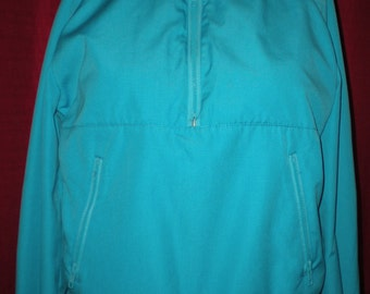 Vintage 90's OSSI Skiwear Sky Blue & White Pullover Ladies Large Pleated Back Opening