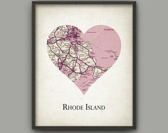 Rhode Island State Map Print Love Heart Rhode Island Rhode Island Travel Poster