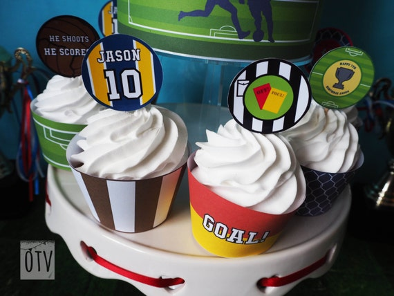 FOOTBALL - CUPCAKE Topper - Soccer - Children's - Boys - Birthday - Party - Green - Personalised - PRINTABLE - Pdf - Digital File