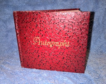Vintage 1950's Red and Black Autograph Book - Used