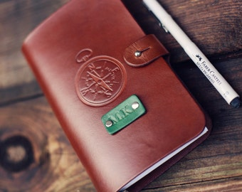 SALE 50% Personalized Leather journal, Notebook, Travel Diary, Journal, Sketchbook, Brown stain, Compass,  name initials