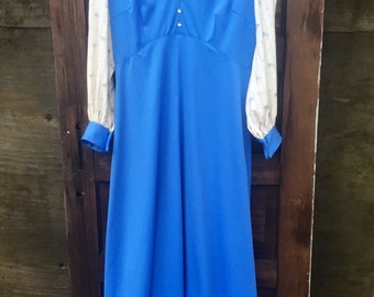Vintage 70's Blue Prairie Maxi Dress with Floral Long Sleeves and Peter Pan Collar size large