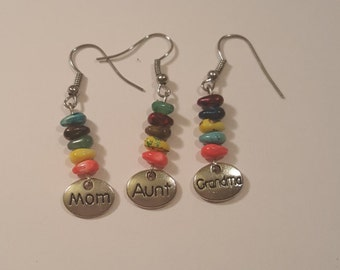 Choice of mom, aunt, or grandma multicolored beaded earrings