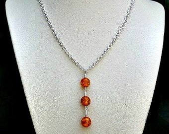 amber and sterling silver necklace-authentic amber necklace-amber necklaces-amber jewelry-baltic amber-amber