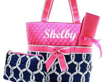 Monogrammed Pink and Navy Nautical Diaper Bag  Monogrammed Diaper Bag  Personalized Diaper Bag