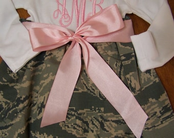 Airforce  baby dress monogrammed