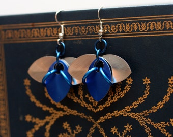 Blue and Silver Tri-Scale Earrings