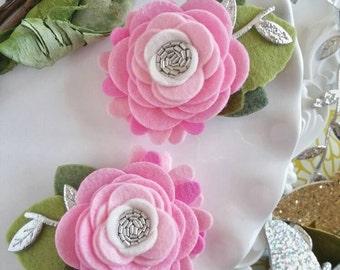 Pink Felt Flower Hair Clips  Pink Mini Felt Flower Crown.  Felt Flower Pigtail Hair Clips. Infant Flower Clips.  Toddler Flower Hair Clips.