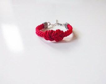 Red Nautical Knot Silk Bracelet