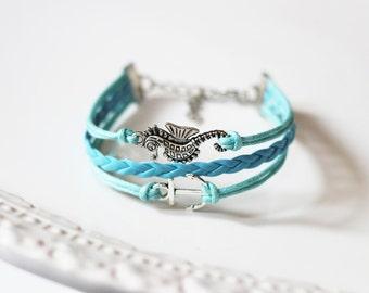 Seahorse Anchor Turquoise Cord Bracelet