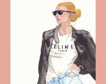 PRINT - Celine Paris  T-shirt Leather Jacket Fashion Illustration