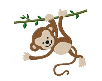 Baby Monkey Embroidery Design Multiple Formats Available - Instant Download