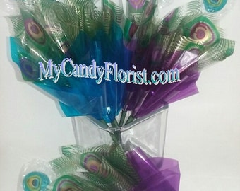 PEACOCK FAVORS! Peacock WEDDING Favors! Peacock Candy Bouquet Party Favor! So Elegant! Great for Candy Buffet or Create your own Centerpiece
