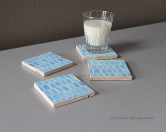 Blue Coasters - Watercolor Coasters - Stone Coasters - Set of 4 - Drink Coasters - Modern Coasters - Gifts Under 20 - Housewarming Gift