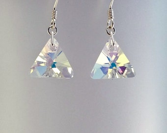 Swarovski Triangle Earrings, Crystal AB Jewellery, Bridal Wedding Jewelry, Gift For Her Under 15,  Anniversary Gift, Valentines Present.