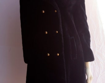 70's Vintage Black Faux Fur Fitted Admiral Coat