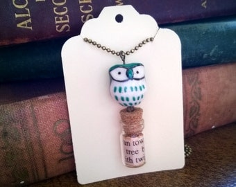 Owl and Bottle Charm Necklace