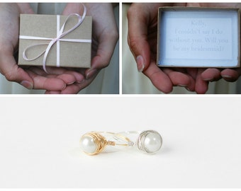 Bridesmaids Box - Will You Be My Bridesmaid - Bridesmaids Invitation Box - Maid of Honor Invitation Box - Bridesmaid Pearl Ring-Bridal Party