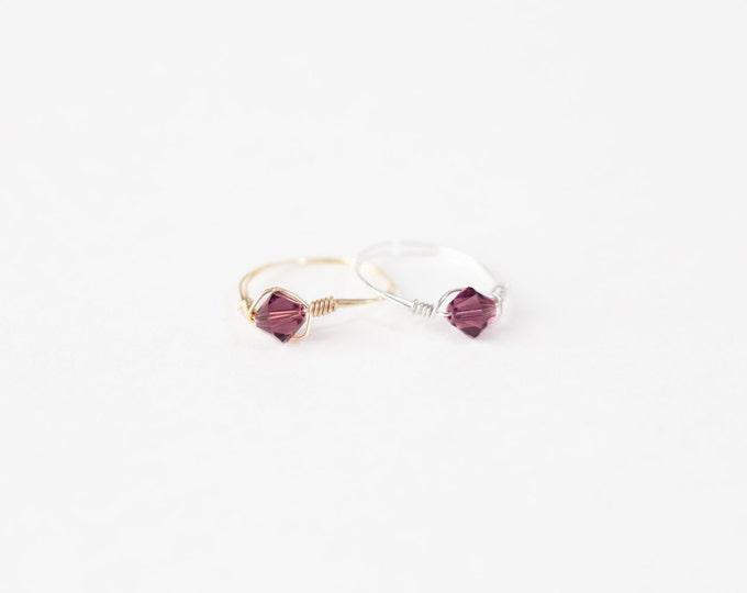 February Birthstone Ring-Swarovski Crystal Birthstone Ring-February Birthstone Crystal Bead Ring-Silver Birthstone Ring-Gold Birthstone Ring