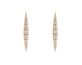 14k gold, white gold, rose gold crescent diamond earrings, diamond spike earrings, vertical line bar earrings, natural diamond, cre-e101-18