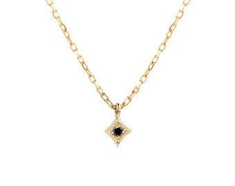 tiny black diamond necklace, 14k gold, rose gold, white gold necklace, dainty necklace, gold layer necklace,sta-n101