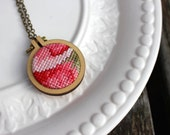 Vintage Cross Stitch Necklace. Pink Red Floral Hand Stitched Embroidery Hoop Pendant. Wood Hoop Fiber Art Jewelry. Gifts under 30.