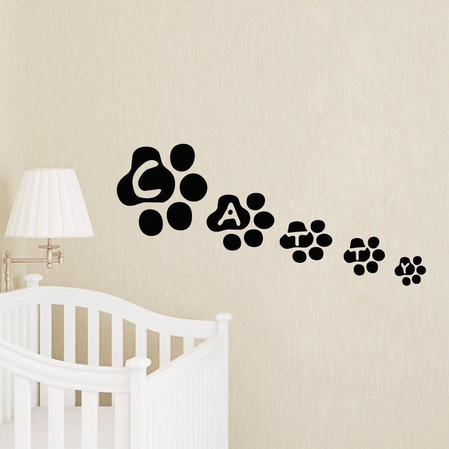 Wall decals name personalized custom paw print decal vinyl for Custom vinyl mural prints