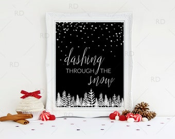 Dashing through the snow - PRINTABLE Wall Art / Winter wonderland print / jingle bells printable / Christmas Print / Christmas Art