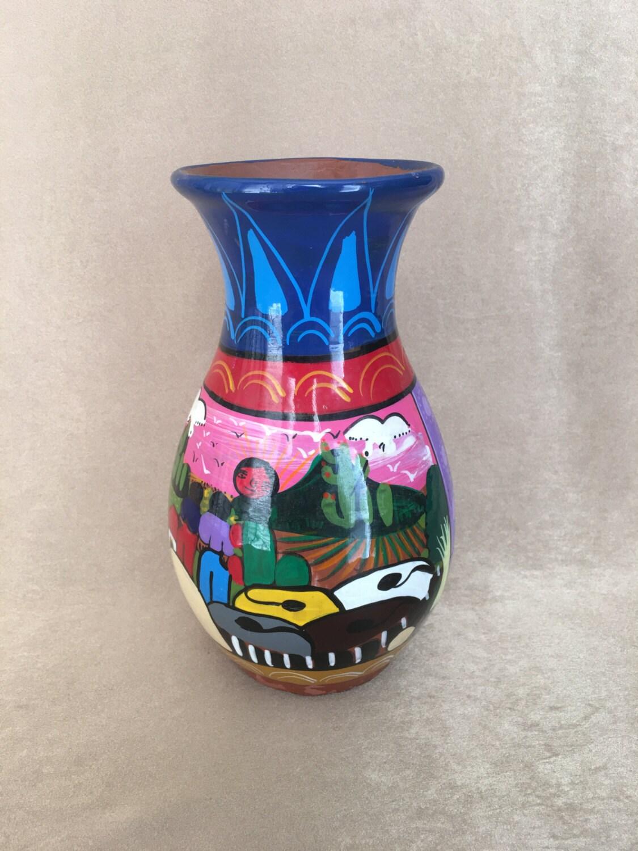 Mexican Pottery Vase Folk Art Vase Terra Cotta Hand