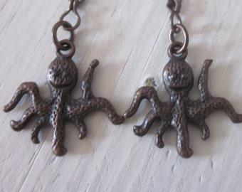 octopus earrings The dancing octopus rustic copper earrings beach earrings sea life minimalist bohemian earrings dangle drop earrings