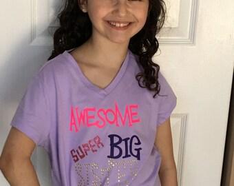 Custom Big Sister Shirt|Awesome Big Sister T-Shirt|Awesome Super Big Sister T-Shirt|