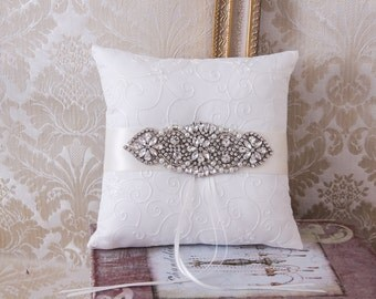 Ring Bearer Pillow, Wedding Pillow, Rhinestone Wedding Ring Bearer, Wedding Ring Pillow, Ring Cushion