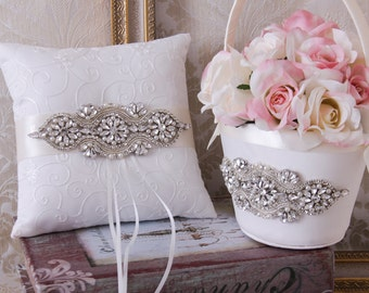 Ring Bearer Pillow, Flower Girl Basket, Wedding Basket and Pillow Set, White or Ivory Ring Pillow, Wedding Accessories