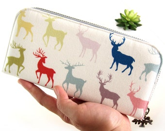 WOMEN WALLET, Deer Wallet, Handmade zipper wallet, Women's vegan wallet, Zippered wallet for your goodies Safety. Cute wallet.