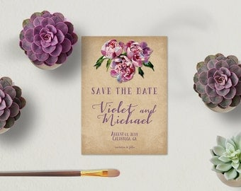 Save The Date Cards in Lilac or Lavender / Napa Valley Weddings Rustic Wine Country Weddings / PRINTED 5x7 The Roche Shop