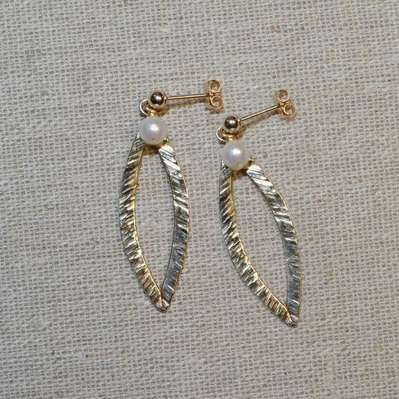 Extra Long Textured Pearl Dangle Earrings - 14k Gold Filled Drop Stud Earrings - Pearl Post Earings - Bohemian Jewelry