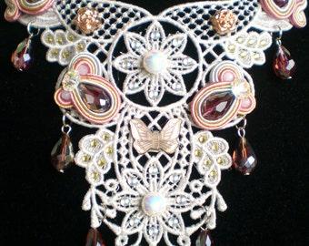 """Lace necklace-soutache """"Crime and Passion"""""""