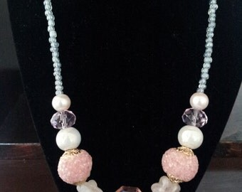 Beaded Light Pink Easter Necklace