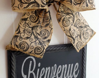 Bienvenue Hanging Chalkboard Sign with Burlap Bow  Metal Chalk Sign  Write your own message