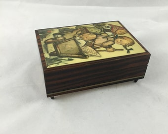"""Vintage Reuge Swiss Wooden Music Box, Jewelry Box, Hummel Decor """"Try To Remember"""""""
